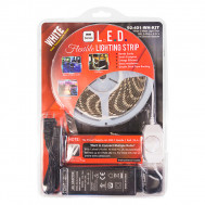 (6000K) White 5 M. Reel, 3-Chip L.E.D. Light Strip with 2.1mm Female & Male Coax Plugs, KIT