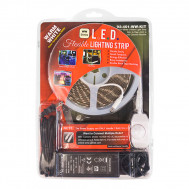 (3000K) Warm White 5 M. Reel, 3-Chip L.E.D. Light Strip with 2.1mm Female & Male Coax Plugs, KIT