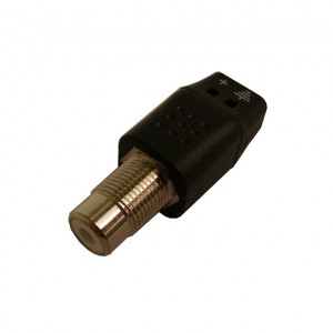 2 Wire RCA Female to 2 Conductor Solderless Terminal Adapter