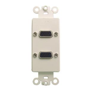 Dual High Density DB-15 Feed Thru Jacks with White Plastic Insert Plate