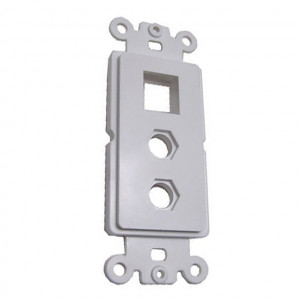 "2 Port Hex 3/8"" Hole and 1 Blank Keystone Cutout, White Plastic Insert Plate"