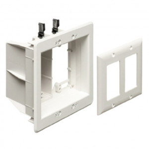 White Dual Gang Recessed Combo Box