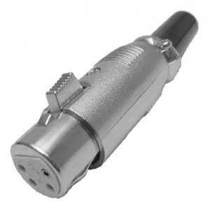 4 Pin Inline XLR Female Jack with Silver Housing