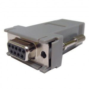 Female DB-9 to RJ12 Jack, Grey Plastic Hood