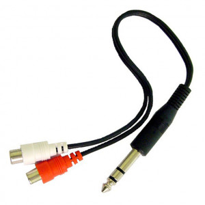 """Y"" Cable, 1/4"" Stereo Plug to Two RCA Jacks"