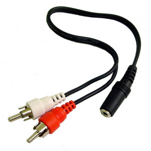 """""""Y"""" Cable, 3.5mm Stereo Jack to Two RCA Plugs"""