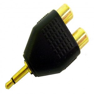 """Gold Plated """"Y"""" Adapter, 3.5mm Mono Plug to Two RCA Jacks"""