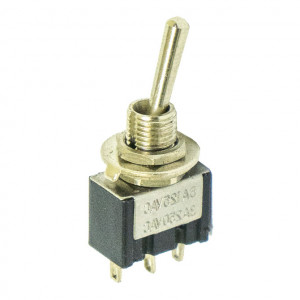 SPDT Miniature Economy Toggle Switch with Silver Plated Contacts, ON-OFF-ON
