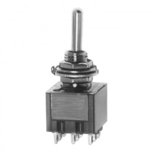 DPDT Miniature Economy Toggle Switch with Silver Plated Contacts, ON-ON