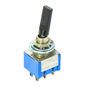 DPDT Miniature Flat Toggle Switch, ON-ON Momentary