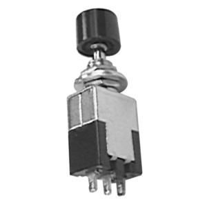 SPDT Miniature Push Button Switch with Black Cap