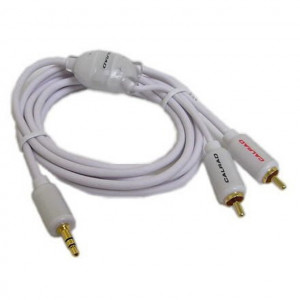 "1.5 M. ""Y"" Cable, 3.5mm Stereo Plug to Two RCA Plugs"