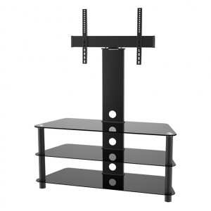 "Elegant Stand with TV Mount & 3 Glass Shelves, Fits 37""-65"""