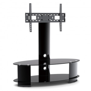 "Elegant Stand with TV Mount & 2 Oval Glass Shelves, Fits 37""-65"""