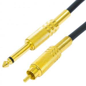 "RCA Male to 1/4"" Mono Male Professional Audio Patch Cable, Gold Plated 6 Ft. Long"