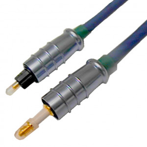 5mm Fiber Optic Cable 3.5 to Toslink with Metal Connectors, 5 Meters