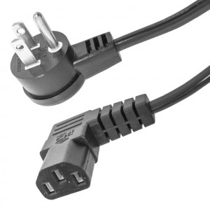 Right Angle 3 Prong Male to Right Angle IEC Female AC Power Cable, 18 Awg 1 Ft. Long