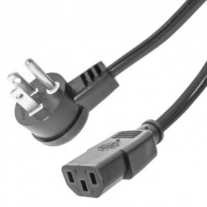 Right Angle 3 Prong Male to Straight IEC Female AC Power Cable, 18 Awg 3 Ft. Long