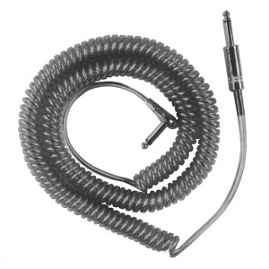 "1/4"" Mono Male to Right Angle 1/4"" Mono Male Blue Coiled Audio Cable, Metal Plugs 20 Ft. Long"