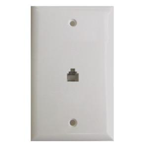 Brown Flush Mount Single 4 Wire Jack Modular Wall Plate