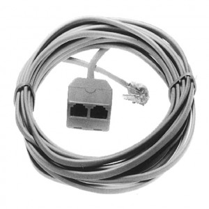 Ivory Dual Modular 4 Wire Extension Cord, 14 Ft. Long
