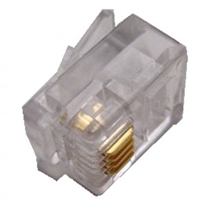 Modular Plug RJ11 4 Wire for Round Cable Type, 10 pcs
