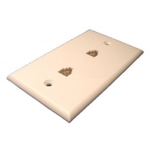 Ivory Smooth Flush Mount Dual 8 Wire Jacks Modular Wall Plate