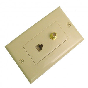 Ivory Designer Wall Plate 4 Wire Phone Jack and F-81 Connector