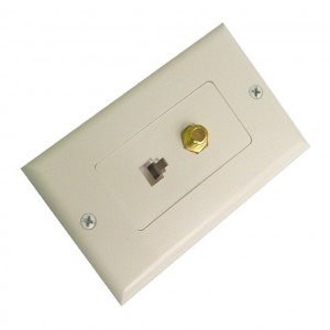 White Designer Wall Plate 4 Wire Phone Jack and F-81 Connector