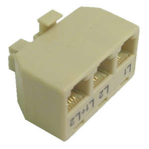 "Ivory 3 Way ""T"" Modular Adapter"