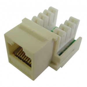 Almond RJ45 90 Degree Keystone Jack, CAT 5e