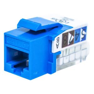 Blue RJ45 Tool-Less Keystone Jack, CAT 5e