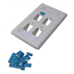 2 Port Angled Cavity, White Keystone Wall Plate