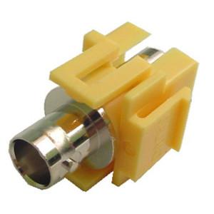 75 Ohm BNC Feed-Thru Yellow Recessed Keystone Insert, Nickel Plated
