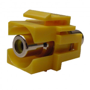 RCA Feed-Thru Recessed Keystone with Green Insert, Gold Plated