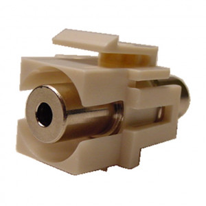 3.5mm Stereo Feed-Thru Ivory Recessed Keystone Insert, Nickel Plated