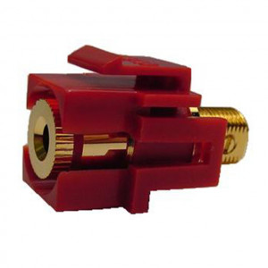 Isolated Banana Feed-Thru Red Recessed Keystone Insert, Gold Plated
