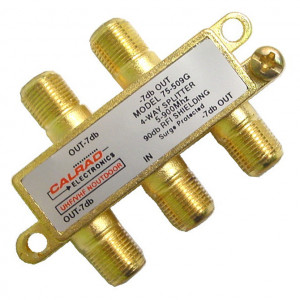 4 Way VHF/UHF Outdoor Hybrid Splitter, 5-900 MHz, Gold Plated