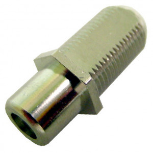 """F"" Female to RCA Female Feed-Thru Hex Style with Green Insert"
