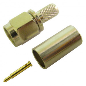 SMA Male Crimp-On Connector for RG-58A with Gold Plated Contacts