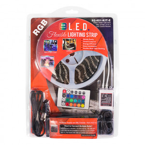 RGB 5 M. Reel, 3-Chip L.E.D. Light Strip with 4 pin Male to Female connectors, KIT