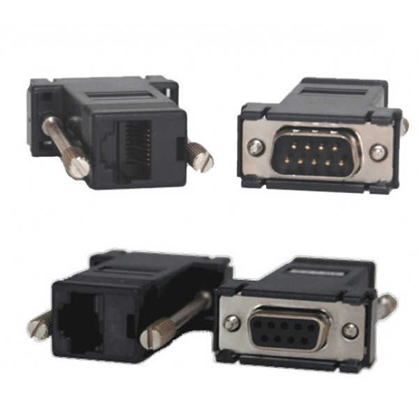 full duplex rs232 passive balun kit, db9 female rj45 jack to db9 Alalen Bradley plc RS232 Wiring 30 592, db9 female to male over cat 5e, cat6 cabling
