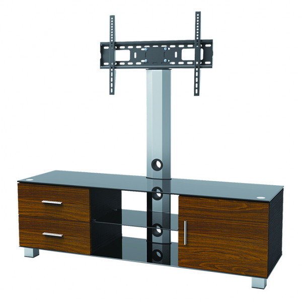 Elegant Stand With Tv Mount Wood Drawers Cabinet 3 Glass Shelves
