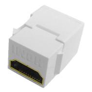 White HDMI Feed Thru Keystone Insert