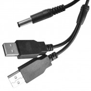 Dual Type A Male USB to 2.5mm Coaxial Plug, 4 Ft. Long.