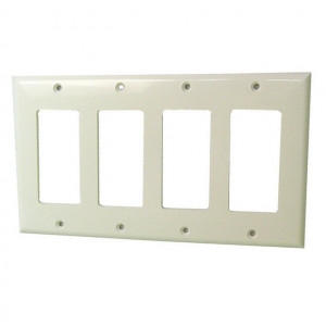 Four Gang White Plastic Wall Plate