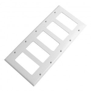 Five Gang White Plastic Wall Plate