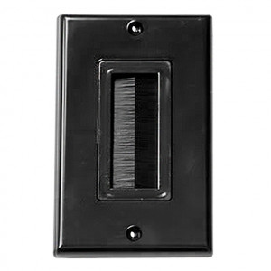 Single Gang Black Wall Plate with Brush Bristles