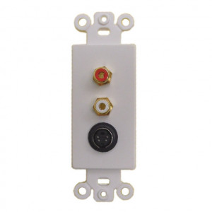2 RCA Jacks and 1 female SVHS Jack with White Plastic Insert Plate