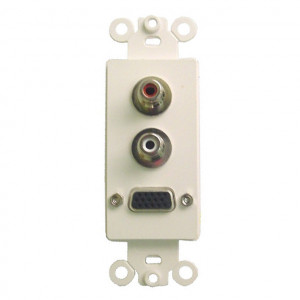 High Density DB-15 Feed Thru and Dual RCA Feed Thru Jacks with White Plastic Insert Plate